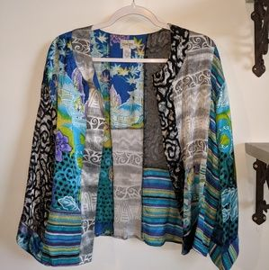 Chico's 3/4 sleeve bright silk blouse